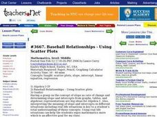 Baseball Relationships - Using Scatter Plots Lesson Plan