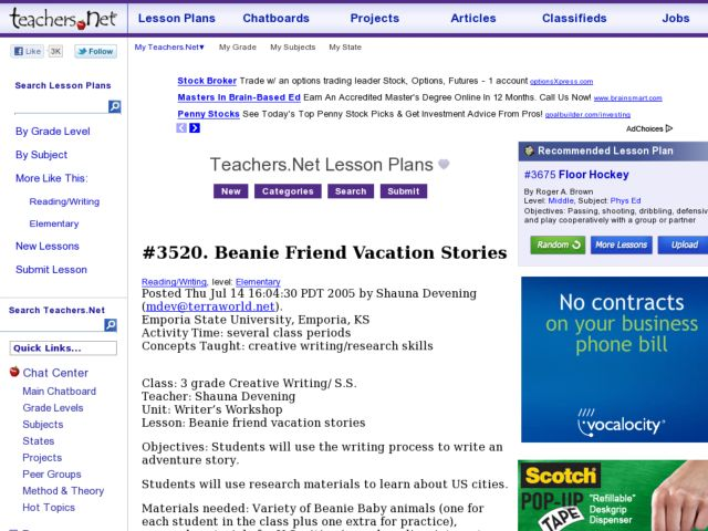 Beanie Friend Vacation Stories Lesson Plan