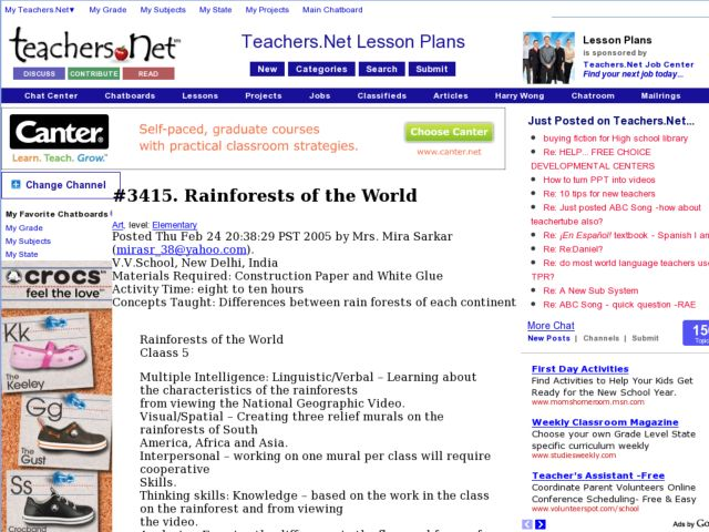 Rainforests of the World Lesson Plan