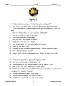 Apollo 13 Movie Questions Lesson Plans & Worksheets