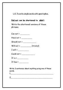Apostrophes Worksheet