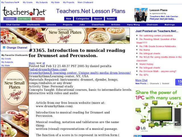 Introduction to musical reading for Drumset and Percussion. Lesson Plan