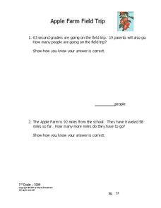 Apple Farm Field Trip Worksheet