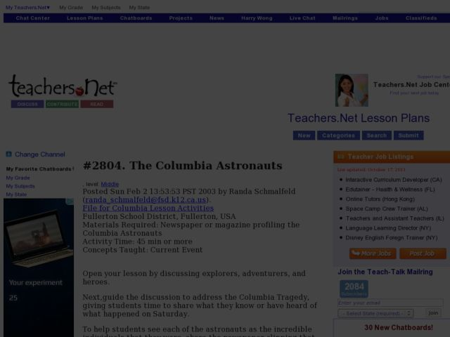 The Columbia Astronauts Lesson Plan