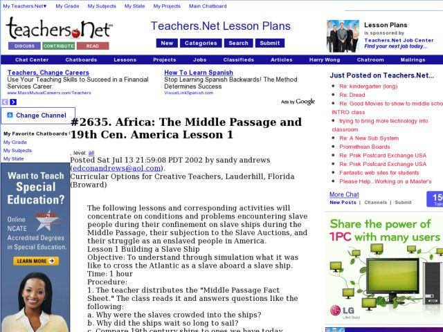 Africa:  The Middle Passage and 19th Century America Lesson Plan