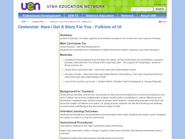 Centennial: Have I Got a Story for You Lesson Plan