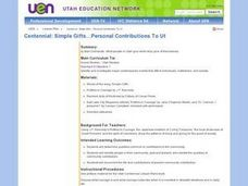 Centennial: Simple Gifts...Personal Contributions To Utah Lesson Plan