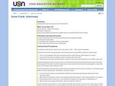 Anne Frank: Interviews Lesson Plan
