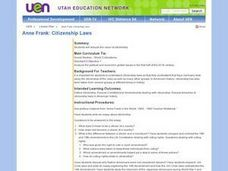 Anne Frank: Citizenship Laws Lesson Plan