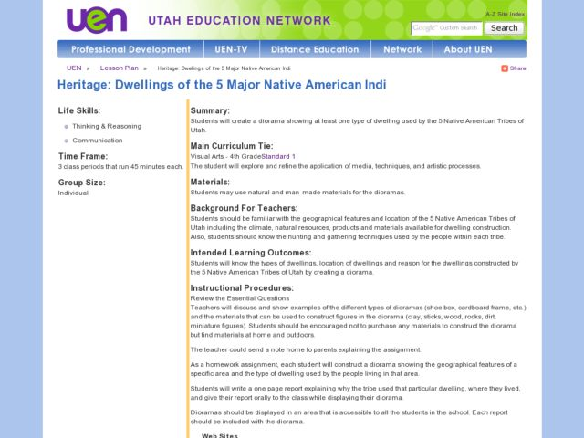 Heritage: Dwellings of the 5 Major Native American Tribes of Utah Lesson Plan
