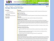 Heritage: What Would YOU Take? Lesson Plan