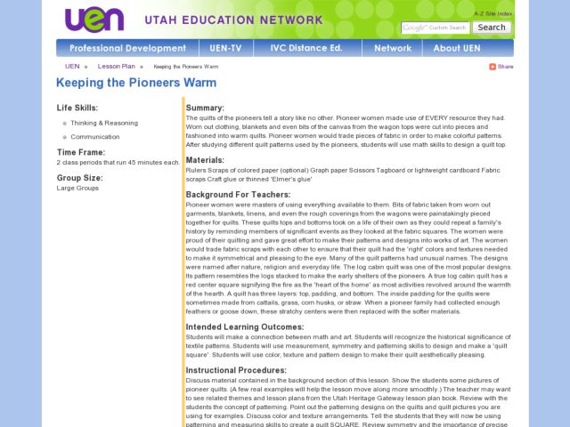 Keeping the Pioneers Warm Lesson Plan