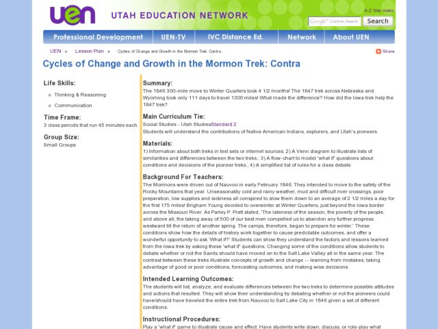 Cycles of Change and Growth in the Mormon Trek: Contra Lesson Plan
