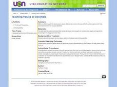 Teaching Values of Decimals Lesson Plan