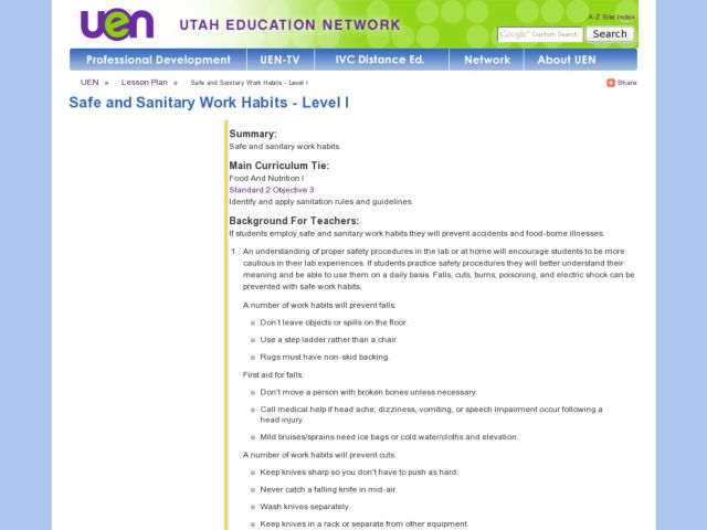 Safe and Sanitary Work Habits - Level 1 Lesson Plan