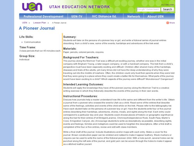 A Pioneer Journal Lesson Plan