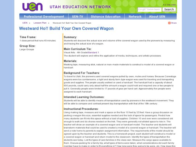 Westward Ho!! Build Your Own Covered Wagon Lesson Plan