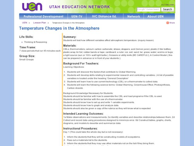 Temperature Changes in the Atmosphere Lesson Plan