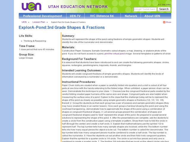 ExplorA-Pond:3rd Grade Shapes & Fractions Lesson Plan