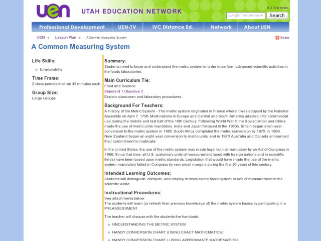 A Common Measuring System Lesson Plan