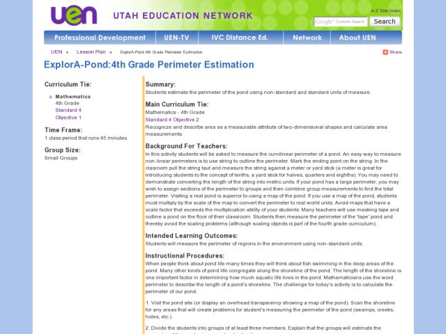 ExplorA-Pond:4th Grade Perimeter Estimation Lesson Plan