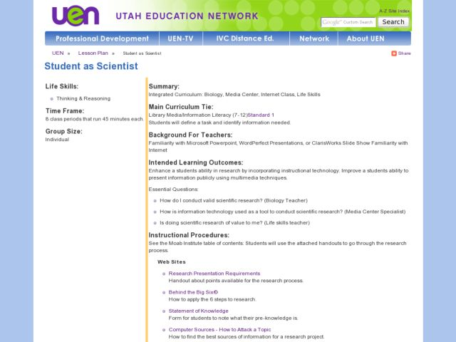 Student as Scientist Lesson Plan