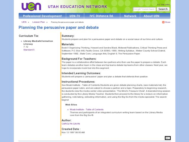 Planning the Persuasive Paper and Debate Lesson Plan