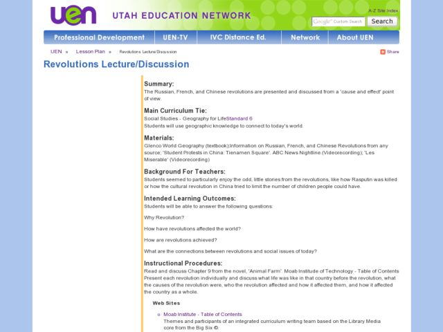 Revolutions Lecture/Discussion Lesson Plan