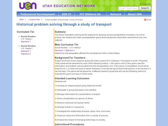 Historical Problem Solving Through a Study of Transport Lesson Plan