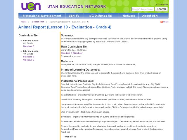Animal Report - Evaluation Lesson Plan