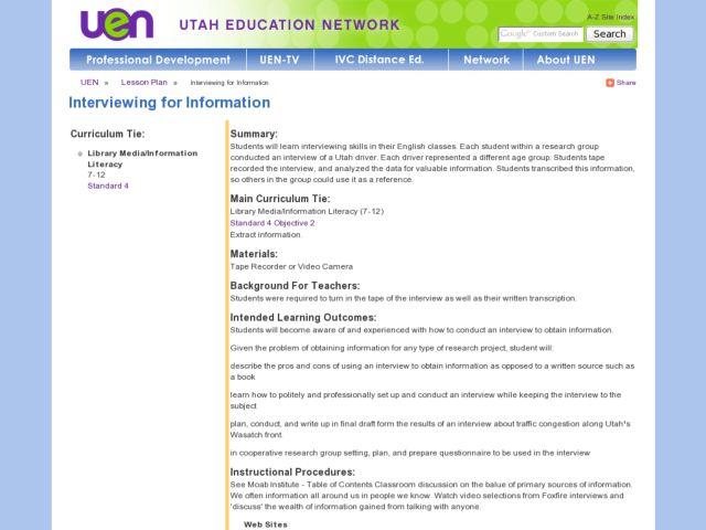 Interviewing for Information Lesson Plan