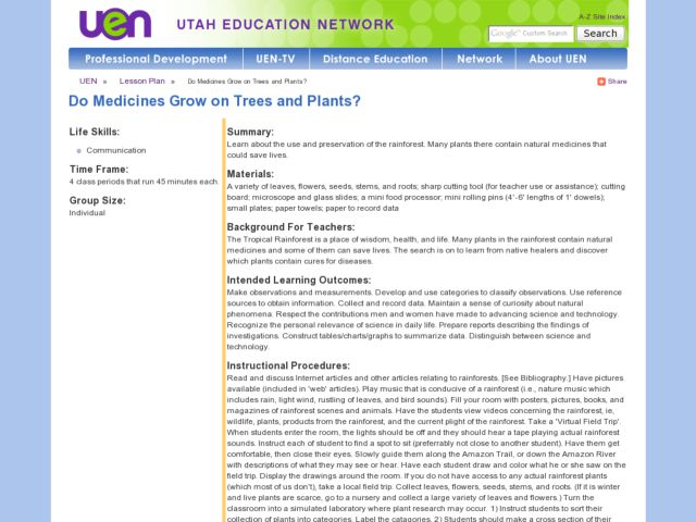 Do Medicines Grow on Trees and Plants? Lesson Plan