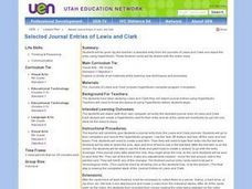 Selected Journal Entries of Lewis and Clark Lesson Plan