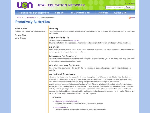 'Pastatively Butterflies' Lesson Plan