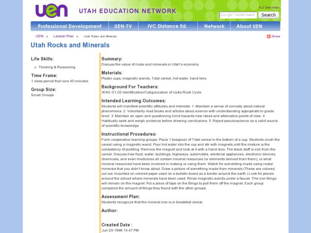 Utah Rocks and Minerals Lesson Plan