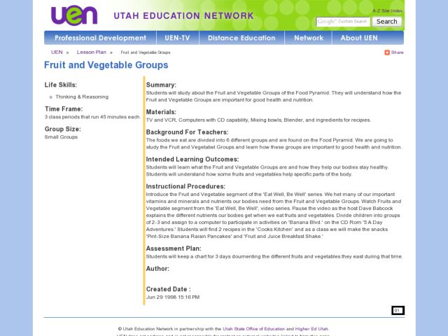 Fruit and Vegetable Groups Lesson Plan