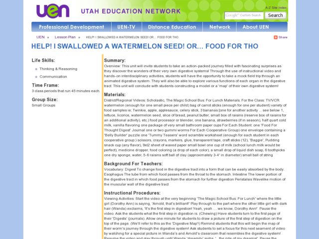 Help! I Swallowed a Watermelon Seed! Or... Food for Thought Lesson Plan