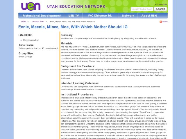Eenie, Meenie, Minee, Moe, With Which Mother Should I Go? Lesson Plan
