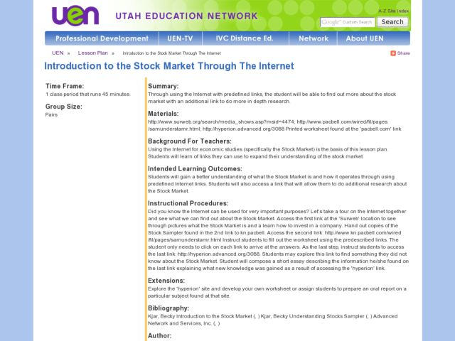 Introduction to the Stock Market Through The Internet Lesson Plan