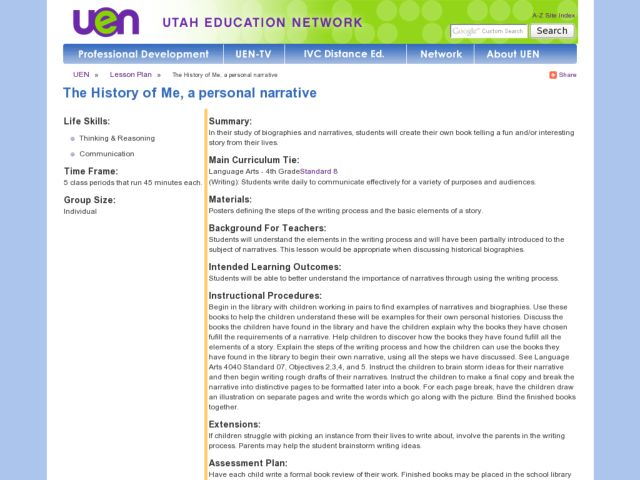 The History Of Me -- A Personal Narrative Lesson Plan