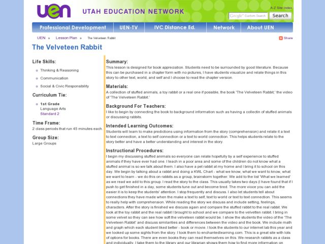 The Velveteen Rabbit Lesson Plan