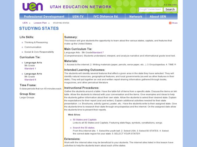 Studying States Lesson Plan