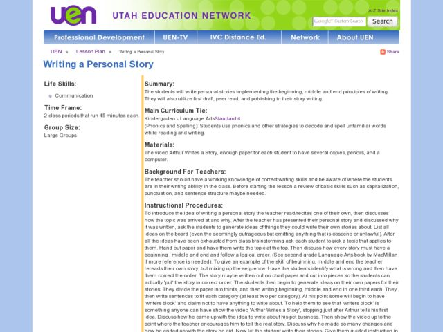 Writing a Personal Story Lesson Plan