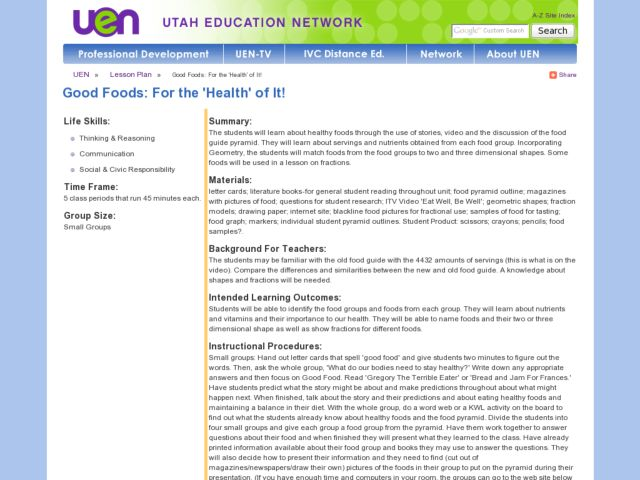 "Good Foods: For the ""Health"" of It! Lesson Plan"
