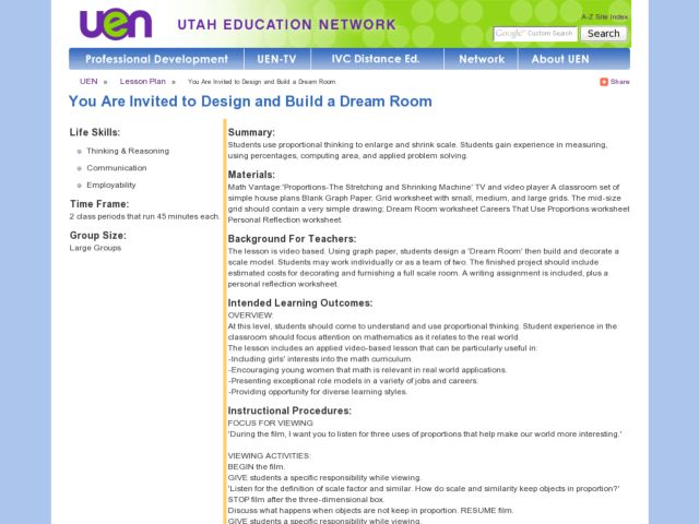 You Are Invited to Design and Build a Dream Room Lesson Plan