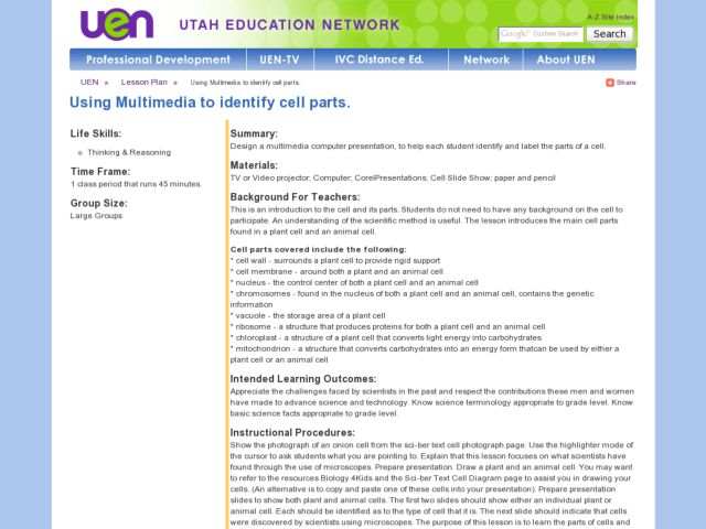 Using Multimedia to Identify Cell Parts Lesson Plan