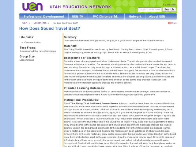 How Does Sound Travel Best? Lesson Plan