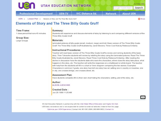 Elements of Story and The Three Billy Goats Gruff Lesson Plan