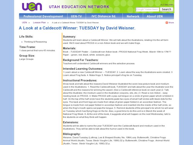 "A Look At a Caldecott Winner: ""Tuesday"" By David Weisner Lesson Plan"