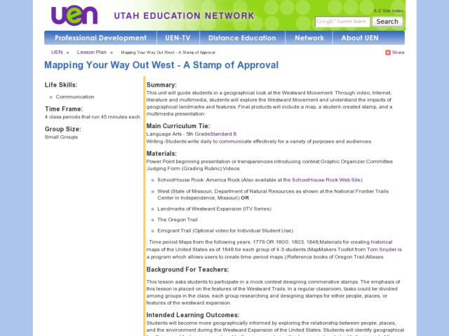 Mapping Your Way Out West: A Stamp of Approval Lesson Plan
